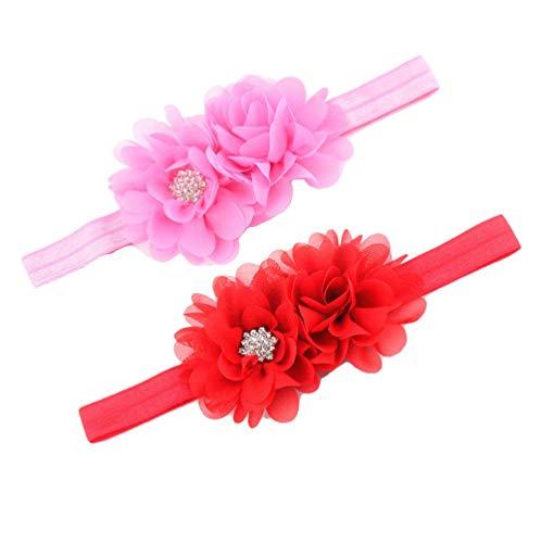 (Baby Girl Hairband With Two Chiffon Flowers One Shiny Rhinestone Button Headband JA66 (Red Pink))