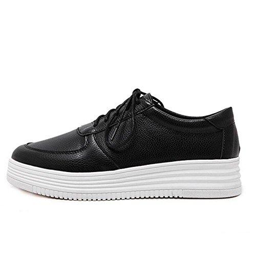 YC chaussure printemps automne blanche Joker et Chaussures Femmes plates respirant Au en Blanc black Laces une L Chaussures Noir petite Casual AwqdxXd