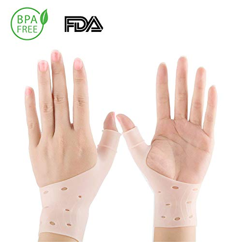 Gel Wrist Brace, Adjustable Braces Elastic Pressure Support Relief Pain from Tenosynovitis, Arthritis, Rheumatism, Carpal Tunnel, Tendonitis, for Right and Left Hands for Men and Women One Pair Beige (Elastic Wrist Hand Brace)