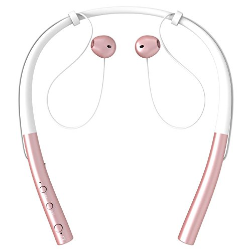 Bluetooth Headphones/Sports Sweatproof Wireless Headphones/Neckband Headset/Digital Noise Cancellation Earphone. (Rose-Gold Color)