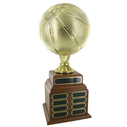 カスタマイズ可能なPerpetualファンタジーゴールドメタリックバスケットボールTrophy with 32名プレート, Includes Personalization