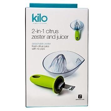 Compra Nuevo Kilo cocina verde 2-en-1 exprimidor de cítricos desmontable acanalador de fruta exprimidor de limones en Amazon.es
