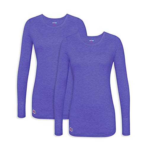 Sivvan 2 Pack Women's Comfort Long Sleeve T-Shirt/Underscrub Tee - S85002 - Heather Royal Blue - 2X