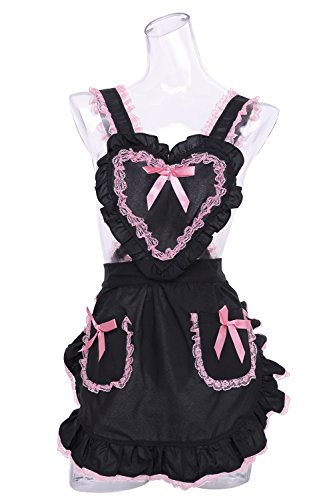 Pink / black heart ruffle apron by Clear Stone