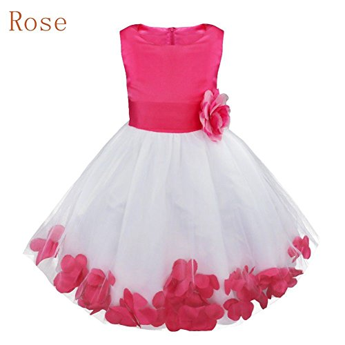 Formal Pageant Petals Princess Burgundy Girls Infant Tulle Flower Dress Kids Wedding OYUqT