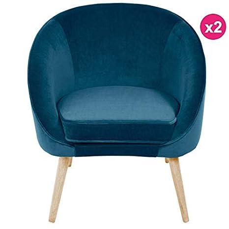 KosyForm - - Juego de 2 sillones de Terciopelo Azul con ...