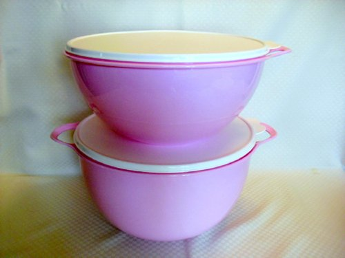 Tupperware Double THATSA 32c + MEGA 42c Mixing Bowls Set NEW Pink by Tupperware