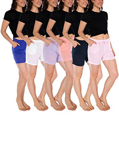 Sexy Basics Women's 6 Pack Anywear Active Workout Yoga Shorts/Semi-Sheer Flowy Casual Lounge Sleep Shorts (6 Pack-Peachbud/Orchid/Astral/Violet/White/Cherryblossom, Medium)