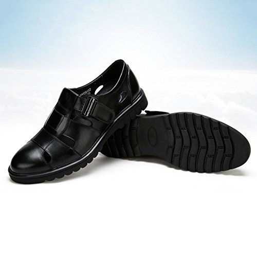 noche de Zapatos los genuino de verano hombres transpirables Zapatos Negro sandalias la cuero fiesta negocios Hollow de por Vestido Negro de Boda del informal CxTBtwxqIS