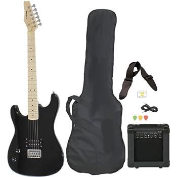 Left Handed Beginner Black Electric Guitar Package with Amp Case Picks Strap Value Pack