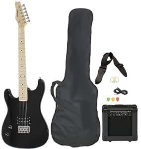 left handed beginner black electric guitar package with amp case picks strap value. Black Bedroom Furniture Sets. Home Design Ideas