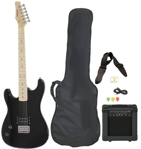 Left Handed Beginner Black Electric Guitar Package with Amp Case Picks Strap Value Pack by Davison Guitars