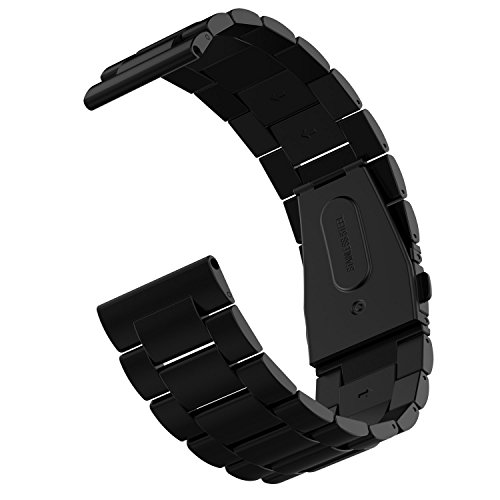 Fitbit Blaze Watch Band, JETech Stainless Steel Band Strap for Fitbit Blaze Smart Fitness Watch - for Both Large and Small Size - Black