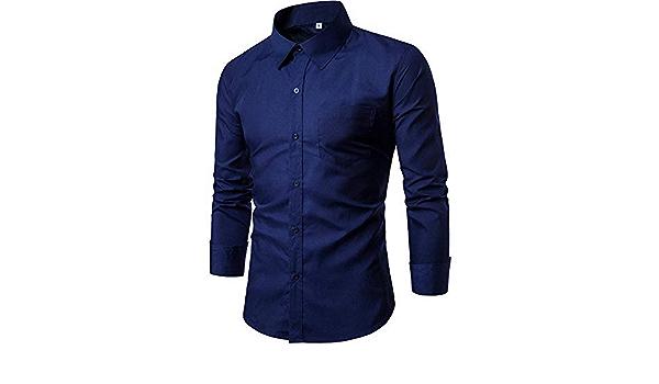YFSLC-Studio Camisa De Manga Larga Hombre,Azul Marino Los ...