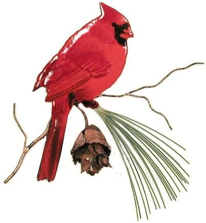 "Small Decorative Metal Tin Hand Painted Red Bird//Cardinal Colorful 6.5/"" Tall"