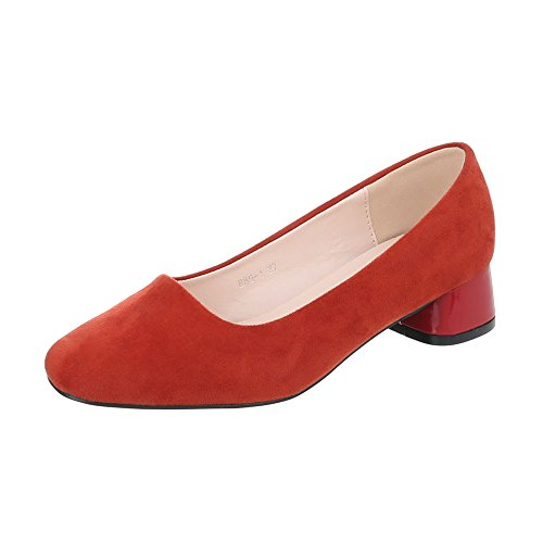 Ital-Design Women's Ballet Flats Block Heel Classic Ballet Flats at Red