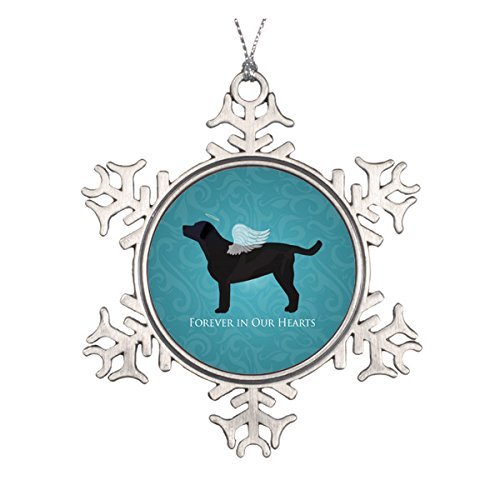 (LilithCroft99 Black Lab Pet Memorial Sympathy Pet Loss Design Pewter Snowflake Christmas Ornaments,Christmas Tree Decorations Ornaments,Keepsake,Novelty)