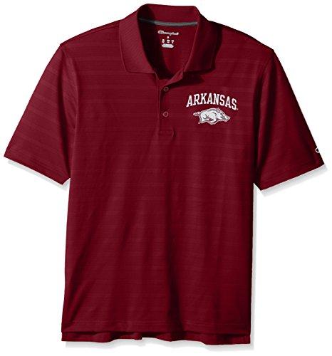 NCAA Champion Men's Textured Solid Polo, Arkansas Razorbacks, X-Large
