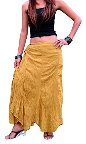 Billy's Thai Shop Cotton Wrap Skirt Hippie Wrap Skirt Boho Skirts for Women, Gold S