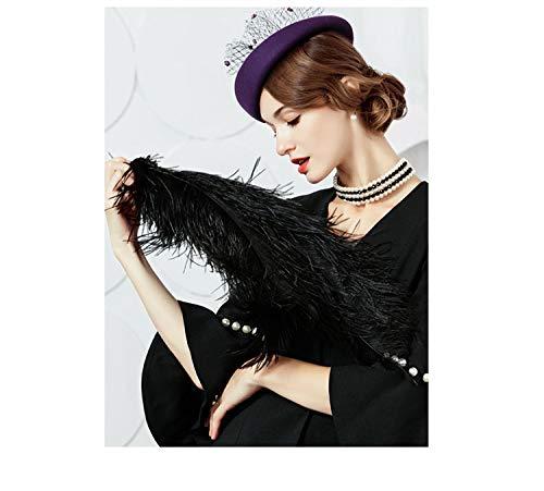 0be9a5ae8c6a6 Fascinator Hat for Women Elegant Wool Felt Pillbox Hat with Flowers Ladies  Wedding Party Fedoras Derby