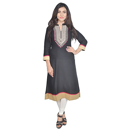 Chichi Indian Women Kurta Kurti 3/4 Sleeve Medium Size Plain with Jaipuri Embroidered Straight Black-Cream Top by CHI (Image #1)