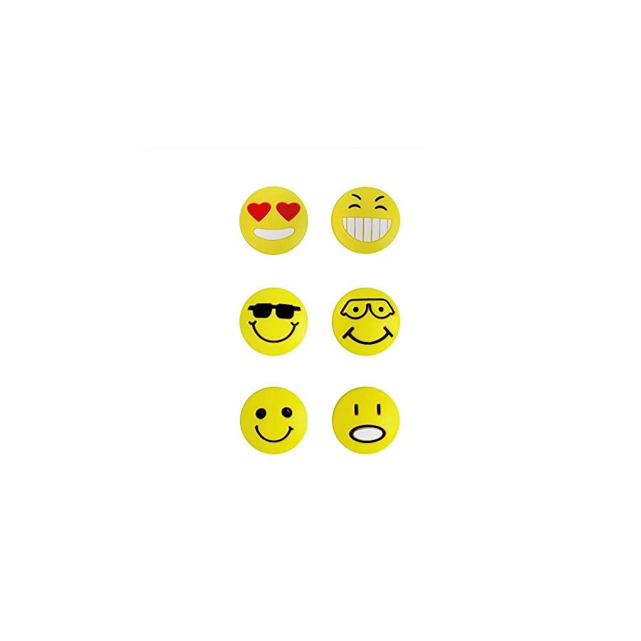 FANGCAN Emoji Face Silicone Squash Tennis Vibration Dampeners Pack of 6