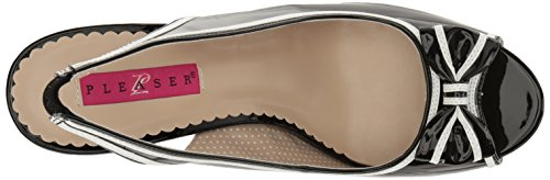 Pleaser Pink Label PINUP-10 Damen Peeptoes Blk-Wht Pat