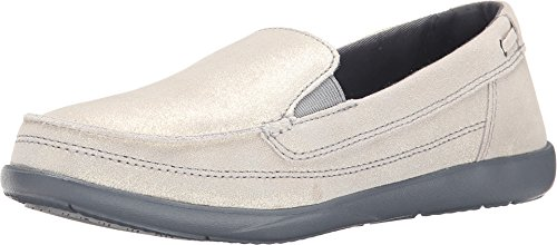 Light In The Box Shoes (crocs Women's Walu Shimmer Leather Loafer W Boat Shoe, Light Grey/Charcoal, 6 B(M) US)