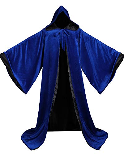 LuckyMjmy Velvet Wizard Robe with Satin Lined Hood and Sleeves (Royal Blue-Black)