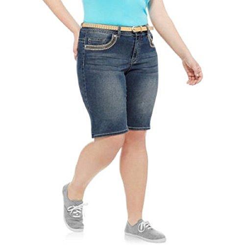 Faded Glory Embroidered Shorts (Faded Glory Plus Size Fashion Denim / Jean Bermuda Shorts w/ Belt - Medium Wash (22W))