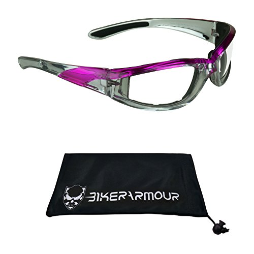 Chrome and Pink Motorcycle Glasses Foam Padded Clear Lens for Women. by Bikershades