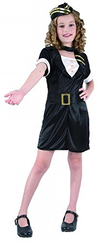 Childrens Girls Air Stewardess Costume For Cabin Crew Airline Fancy