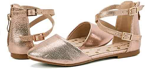 1e1db81d55f nerteo Girl s Pretty Glitter Ballet Flats Ankle Strap Dress Shoes Sandals  (Toddler Little Kid