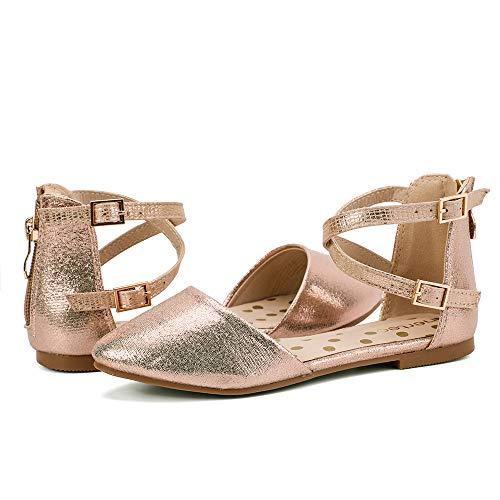 nerteo Girl's Pretty Glitter Ballet Flats Ankle Strap Dress Shoes Sandals (Toddler/Little Kid/Big Kid) Rose Gold 8 M US Toddler