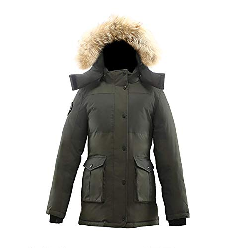 Coyote Fur Parka - Triple F.A.T. Goose Madigan Womens Hooded Arctic Parka with Real Coyote Fur (Large, Olive)
