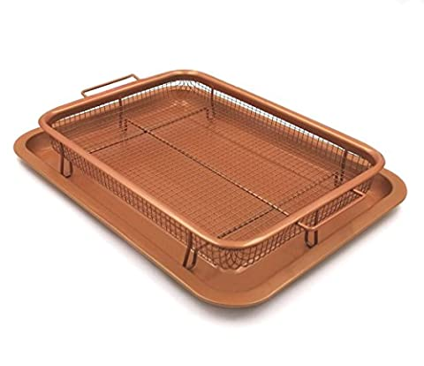 Gvode Copper Crisper as Oven Air Fryer- Multi-Purpose Non-Stick Baking Frying Tray & Basket (Crisper Trays)