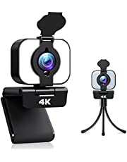 2021 4K Webcam with light, Welcam 3 Adjustable Brightness Ring Light Webcam with Microphone, Ultra HD USB Web Camera with Privacy Cover & Tripod, 105° Wide Angle Streaming Webcam for PC Laptop Desktop