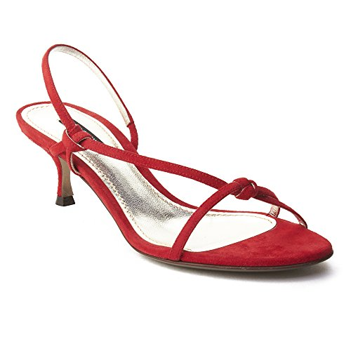 Dolce & Gabbana Women's Suede Kitten Heel Slingback Shoes Red