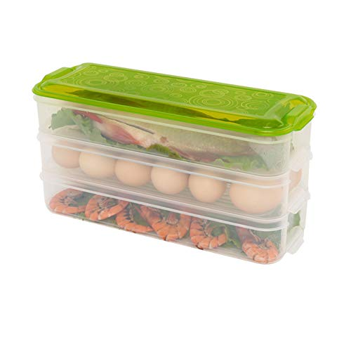 Contenedores rectangulares de plástico para almacenamiento de alimentos, nevera de varias capas, caja de almacenamiento...