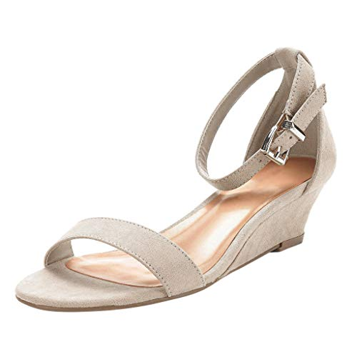 Women's Ankle Strap Low Wedge Sandal Casual Open Toe Wedges Heels Summer Platform Dress Sandals Shoes Beige ()