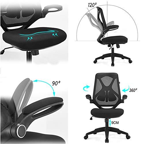 LiRuiPengZY GWDJ svängbar stol, ergonomisk datorstol hem arbetsrum stol personalstol svängbar stol nät kontorsstol (färg: Svart)