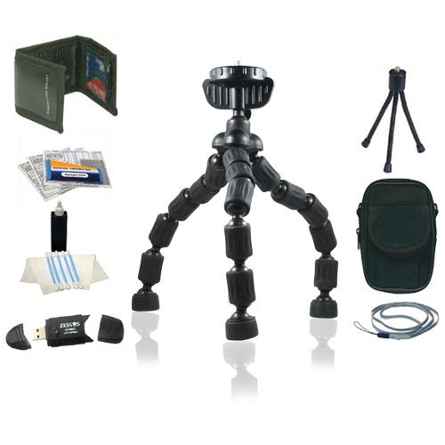 Flexible Tripod (Black) Accessory Kit For Panasonic Lumix DMC-TS2, DMC-FX75, DMC-FX700, DMC-TS10, DMC-FH20, DMC-FH1, DMC-FH3, DMC-F3, DMC-F2 Digital Cameras Includes Case, Neck Strap, Memory Wallet, Screen Protector + USB Reader + Mor by Joby