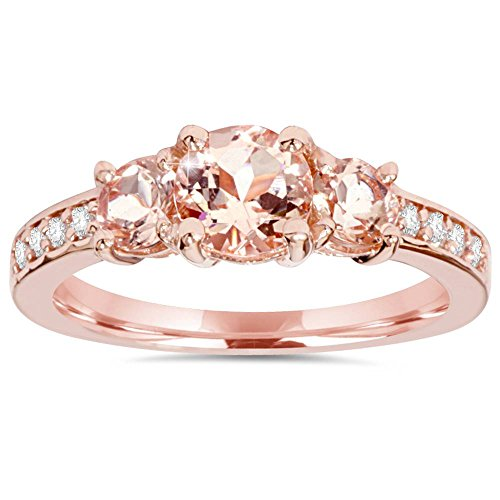 1 1/2CT Morganite & Diamond 3-Stone Engagement Ring 14K Rose Gold - Size 5.5 (Morganite Ring 14k Rose Gold)