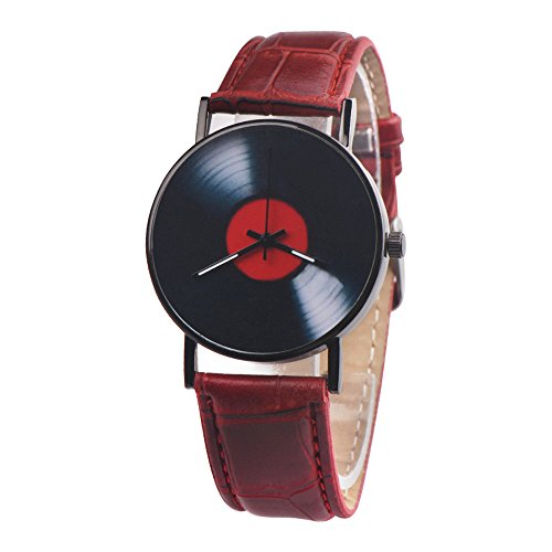 - Men Watch Luxury Quartz Watches Analog Leather Band Casual Watches Male Business Watch (Red)