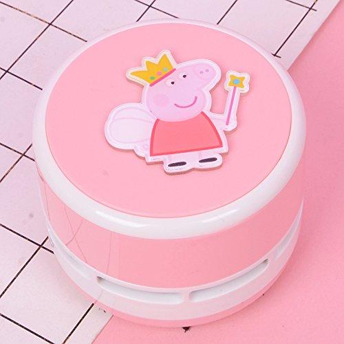 (Desktop Vacuum Cleaner Powerful Vacuum Mini Cleaner Eraser Dirt and dust Life Mini Vacuum Cleaner Mini Desktop Cordless Battery Office Supplies Stationery Pink Angel Pig)