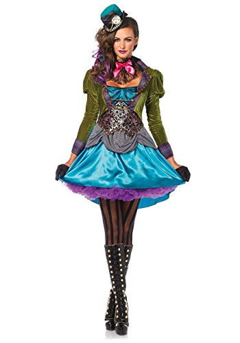 [Leg Avenue Women's 3  Piece Deluxe Mad Hatter Costume, Multi, Small] (Womens Costumes)