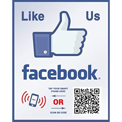 Like Us on Facebook Sticker - Social Media QR Code and NFC Tag - Storefront Window Sticker - Two-Sided Window Decal - Custom Designed for Facebook: Office Products