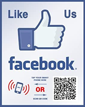 Two-Sided Window Decal Like Us on Facebook Sticker Social Media QR Code and NFC Tag Storefront Window Sticker Custom Designed for Facebook