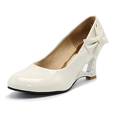 Pumps 5 Farben Weiß Creme Pink Schwarz Gelb Keil Hochzeit High Heels Schuhe Brautschuhe Braut Damenschuhe  41 wie (40)Creme