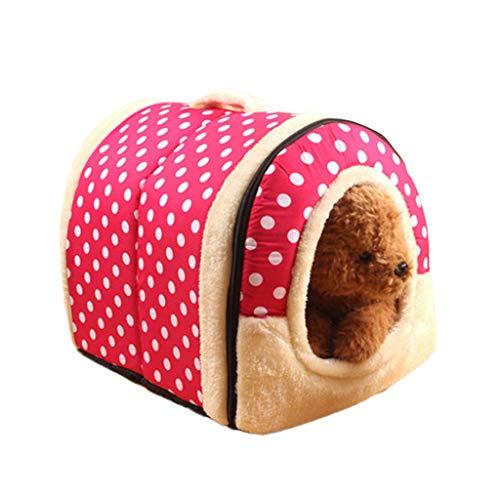 (Wouke Pet Dog Bed, Dot Puppy Kennel Warm Sleeping House Soft Nest)